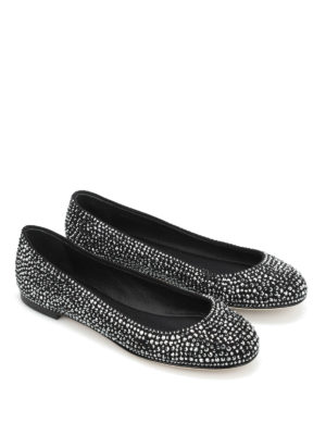 Giuseppe Zanotti: flat shoes online - Suede flats with rhinestones
