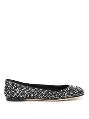 Giuseppe Zanotti: flat shoes - Suede flats with rhinestones