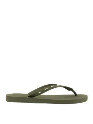 GIUSEPPE ZANOTTI: flip flops - Olive green rubber thong sandals