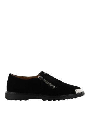 GIUSEPPE ZANOTTI: Mocassini e slippers - Mocassini Cooper scamosciati neri con una zip