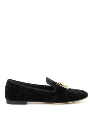 Giuseppe Zanotti: Loafers & Slippers - Dalila crumpled velvet slippers