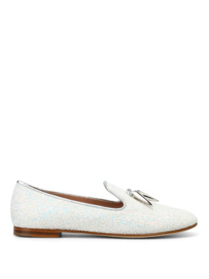 Giuseppe Zanotti: Loafers & Slippers - Dalila glittered milk slippers