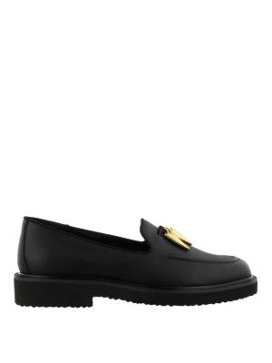 GIUSEPPE ZANOTTI: Mocassini e slippers - Mocassini neri Fred in pelle