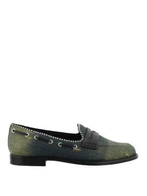 GIUSEPPE ZANOTTI: Mocassini e slippers - Mocassini Mannie in denim e pelle