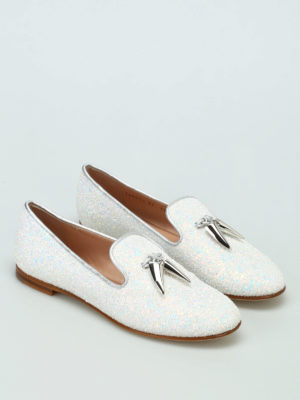 Giuseppe Zanotti: Loafers & Slippers online - Dalila glittered milk slippers