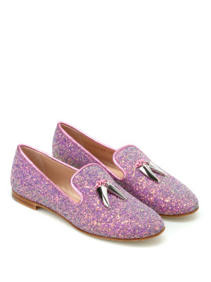 Giuseppe Zanotti: Loafers & Slippers online - Dalila glittered pink slippers
