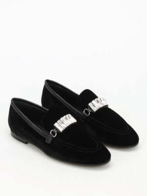 Giuseppe Zanotti: Loafers & Slippers online - Letizia embellished velvet loafers