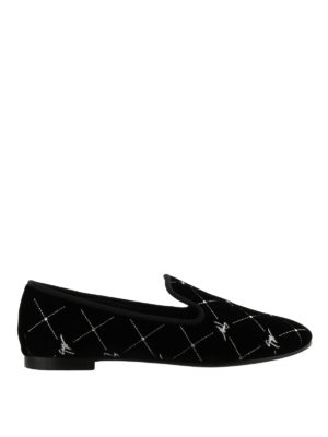 GIUSEPPE ZANOTTI: Mocassini e slippers - Slipper Regal G in velluto Signature