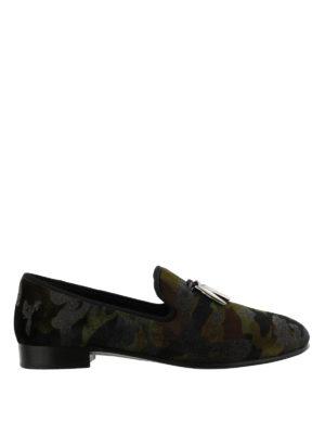 GIUSEPPE ZANOTTI: Mocassini e slippers - Mocassini Shark in tessuto stampa camouflage