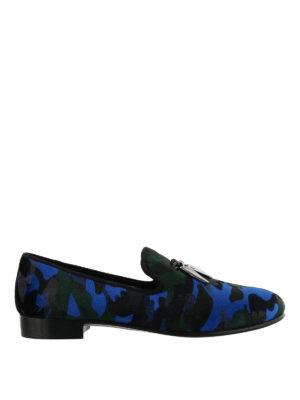 GIUSEPPE ZANOTTI: Mocassini e slippers - Mocassini Shark in velluto stampa camouflage