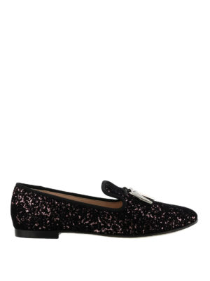 GIUSEPPE ZANOTTI: Mocassini e slippers - Slipper Shark nere e rosa floccate
