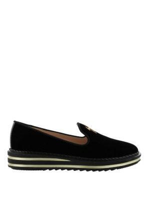 GIUSEPPE ZANOTTI: Mocassini e slippers - Mocassini Tim in velluto nero