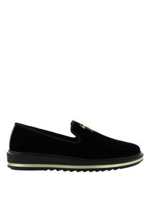 GIUSEPPE ZANOTTI: Mocassini e slippers - Mocassini Tim in velluto con suola da sneaker