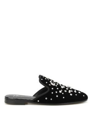 Giuseppe Zanotti: mules shoes - Letizia embellished velvet mules
