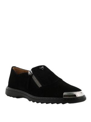 GIUSEPPE ZANOTTI: Mocassini e slippers online - Mocassini Cooper scamosciati neri con una zip