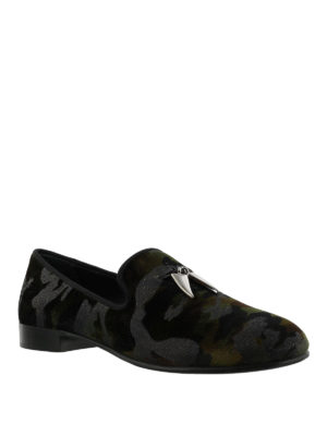 GIUSEPPE ZANOTTI: Mocassini e slippers online - Mocassini Shark in tessuto stampa camouflage