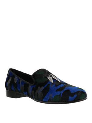 GIUSEPPE ZANOTTI: Mocassini e slippers online - Mocassini Shark in velluto stampa camouflage