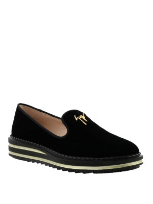 GIUSEPPE ZANOTTI: Mocassini e slippers online - Mocassini Tim in velluto nero