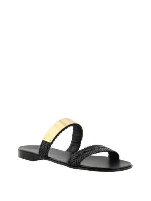 GIUSEPPE ZANOTTI: sandali online - Sandali piatti in pelle intrecciata