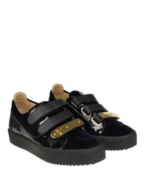 GIUSEPPE ZANOTTI: sneakers online - Sneaker May in vernice nera e velluto blu