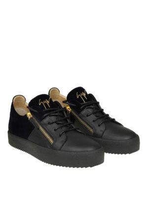 GIUSEPPE ZANOTTI: sneakers online - Sneaker Double in pelle nera e velluto blu