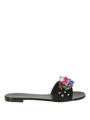 GIUSEPPE ZANOTTI: sandali - Sandali piatti Blinda con cristalli