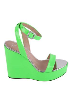 Giuseppe Zanotti: sandals - Byrd fluo green wedges