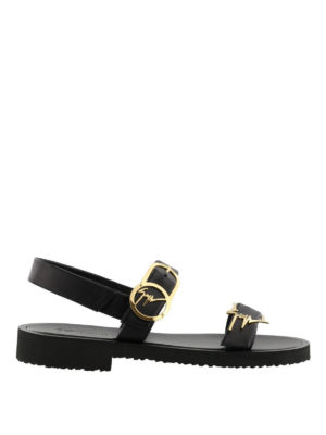 GIUSEPPE ZANOTTI: sandali - Sandali in pelle con fibbie logo