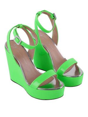 Giuseppe Zanotti: sandals online - Byrd fluo green wedges