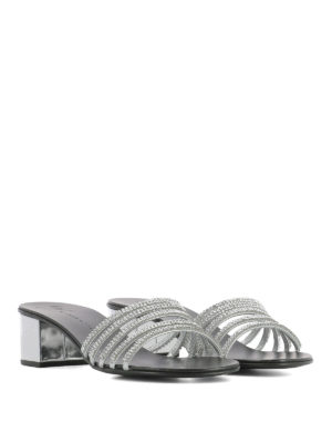 Giuseppe Zanotti: sandals online - Crystal detail leather sandals
