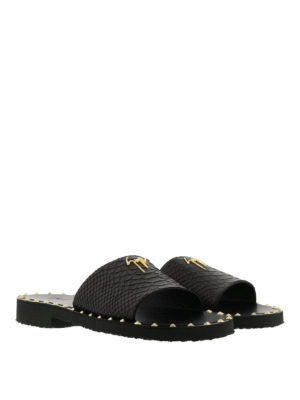Giuseppe Zanotti: sandals online - Zak python print leather sandals