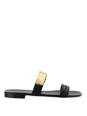 GIUSEPPE ZANOTTI: sandali - Sandali piatti in pelle intrecciata
