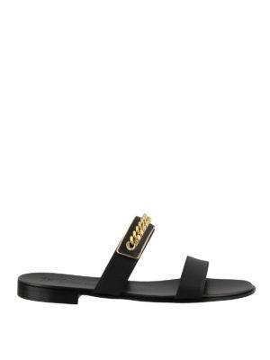 8c553badfc8c GIUSEPPE ZANOTTI  sandali - Sandali piatti Zak con catena dorata. Giuseppe  Zanotti. Zak chain embellished flat sandals