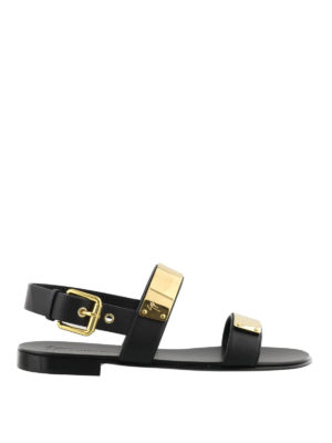 Giuseppe Zanotti: sandals - Zak gold detail leather sandals