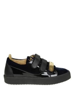 GIUSEPPE ZANOTTI: sneakers - Sneaker May in vernice nera e velluto blu