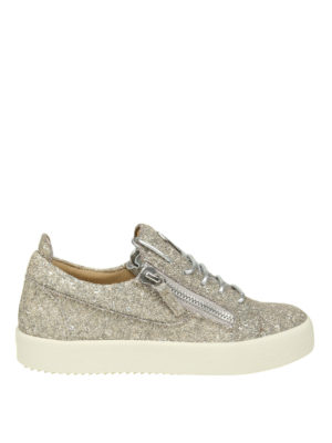 GIUSEPPE ZANOTTI: sneakers - Sneaker Cheryl in glitter color champagne