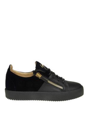 GIUSEPPE ZANOTTI: sneakers - Sneaker Double in pelle nera e velluto blu