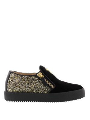 Giuseppe Zanotti: trainers - Eve suede and glitter sneakers