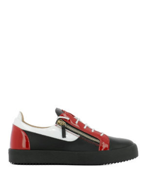 GIUSEPPE ZANOTTI: sneakers - Sneaker Frankie nere bianche e rosse