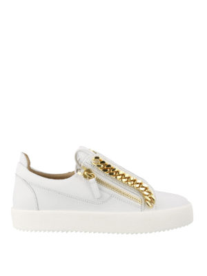 18ac738d25dd64 GIUSEPPE ZANOTTI: sneakers - Sneaker Frankie Chain in pelle bianca