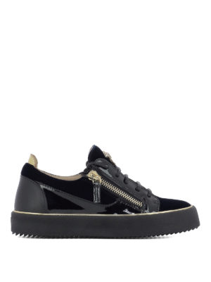 GIUSEPPE ZANOTTI: sneakers - Sneaker Glynn in velluto e vernice