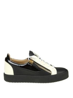 GIUSEPPE ZANOTTI: sneakers - Sneaker May in pelle nero e bianco