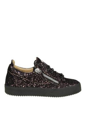 GIUSEPPE ZANOTTI: sneakers - Sneaker May in velluto e glitter