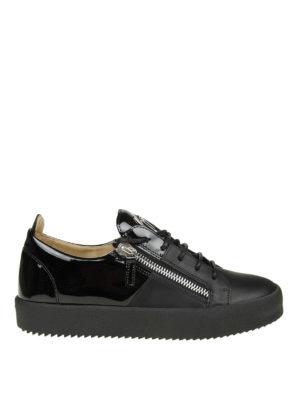 GIUSEPPE ZANOTTI: sneakers - Sneaker nere May London in pelle e vernice