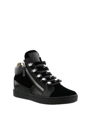 Giuseppe Zanotti: trainers online - Velvet sneakers with rhinestones