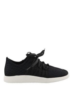 GIUSEPPE ZANOTTI: sneakers - Sneaker nere con nastro logo
