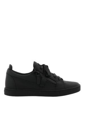GIUSEPPE ZANOTTI: sneakers - Sneaker nere Unfinished in pelle