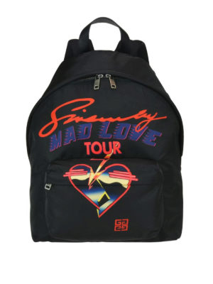 GIVENCHY: zaini - Zaino in nylon stampa Givenchy Mad Love Tour