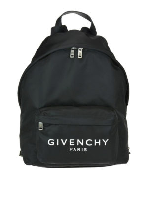 GIVENCHY: zaini - Zaino in nylon con ricamo Givenchy Paris
