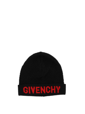 Givenchy: beanies - Black and red wool beanie